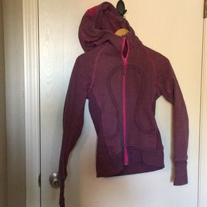 Lululemon Hot Pink and Grey Striped Hoodie